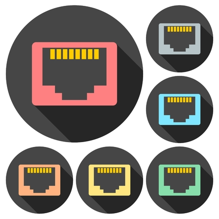 tcp ip: Vector network socket icons set with long shadow Illustration