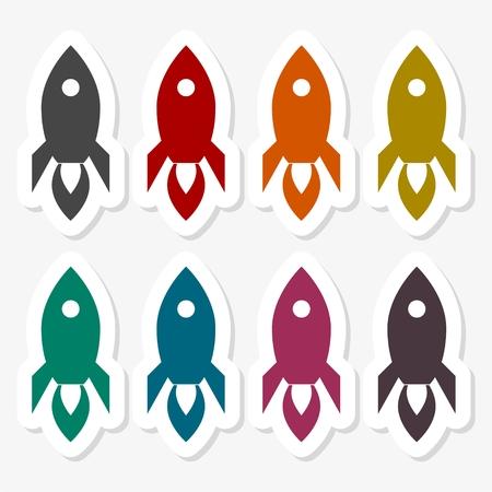 Rocket stickers set