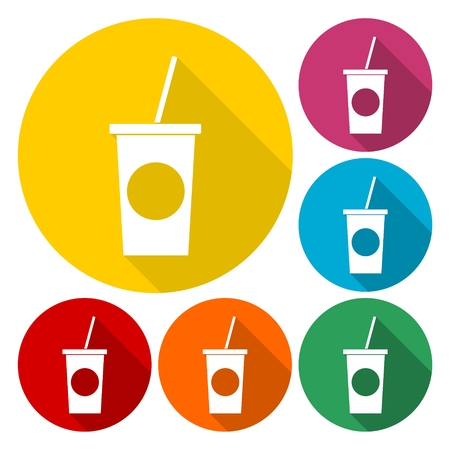 carbonated beverage: Soft drink icons set with long shadow