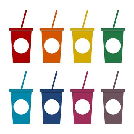 Soft drink icons set