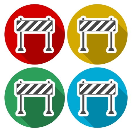 Barrier icon, Roadblocks icons set with long shadow