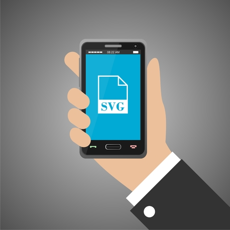 svg: Hand holding smartphone with svg icon Illustration