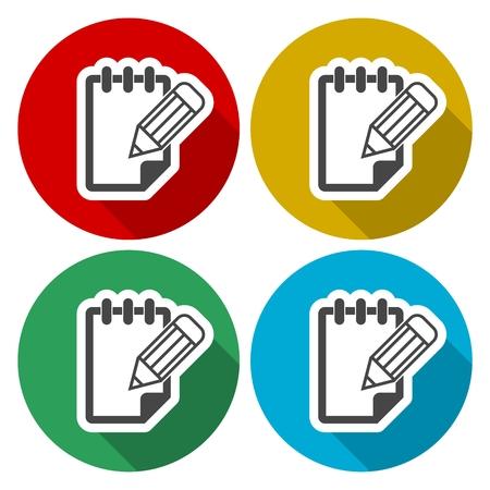 Notepad icônes vectorielles définie avec ombre portée