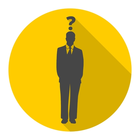 Man with question mark icon with long shadow