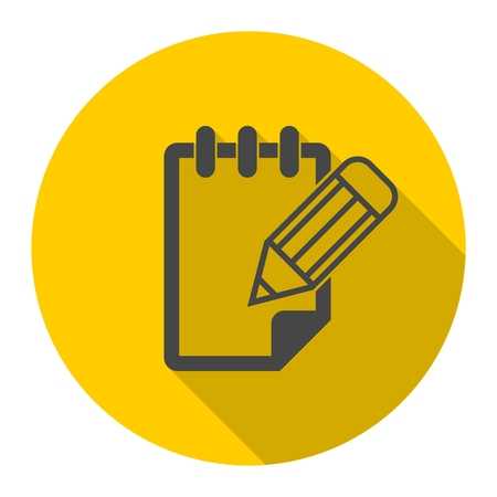 Notepad vector icon with long shadow