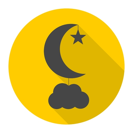 moon shadow: Moon, star and cloud icons set with long shadow