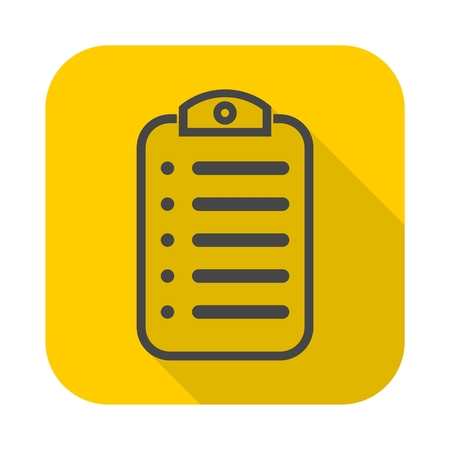 Menu (clipboard) vector icon with long shadow Illustration