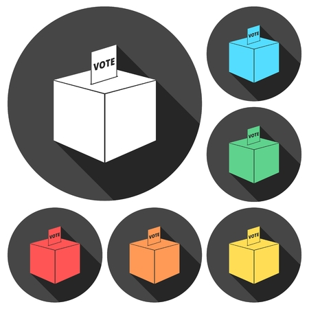 slot in: Vote icons set with long shadow