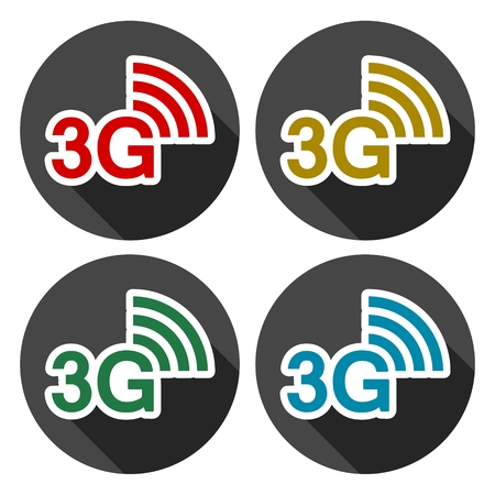 3g: 3G icons set with long shadow Illustration