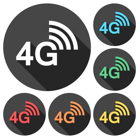 Icone 4G impostato con una lunga ombra