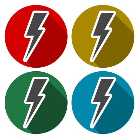 forked: Bolt - vector icons set with long shadow