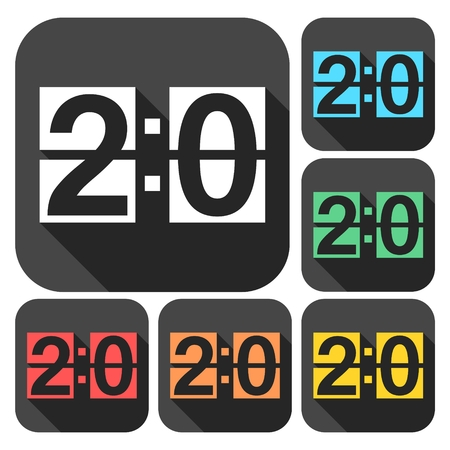 Scoreboard icons set with long shadow Illustration