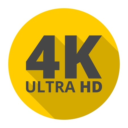 hdmi: Ultra HD 4K icon with long shadow
