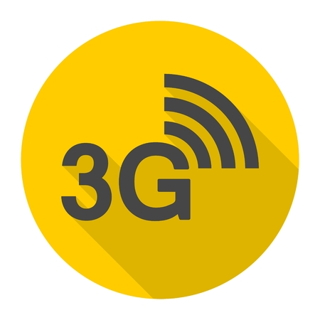 3g: 3G icon with long shadow Illustration