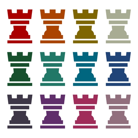 chess rook: Simple icon Chess Rook set Illustration