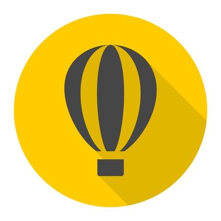 airship: Air balloon icon with long shadow Illustration