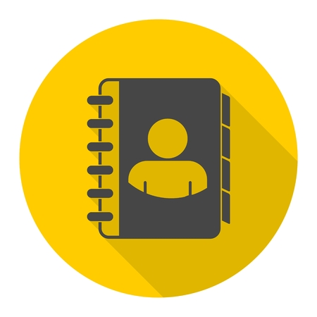 directory: Notebook, address, phone book icon with long shadow
