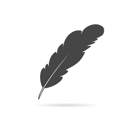 a poet: Feather sign illustration