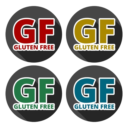 sprue: Gluten free Sign icons set with long shadow