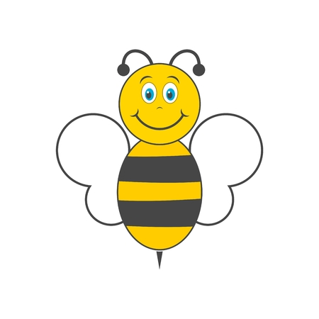 Funny cartoon bee with long shadow Illustration
