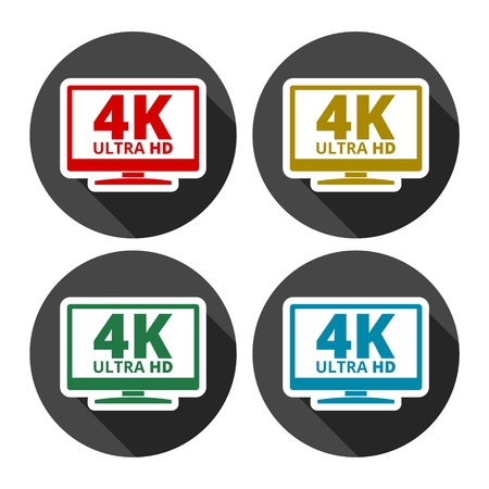 tv panel: 4K tv icon - Vector set with long shadow Illustration