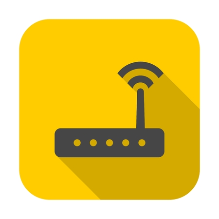 Router icon vector, router icon with long shadow Illustration
