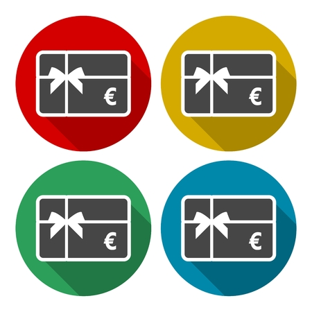 cash back: Shopping gift card icon, Gift card Icons set with long shadow