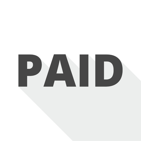 indebtedness: Paid icon with long shadow Illustration