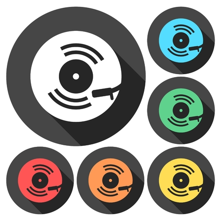 Vinyl icon, Gramophone icons set with long shadow