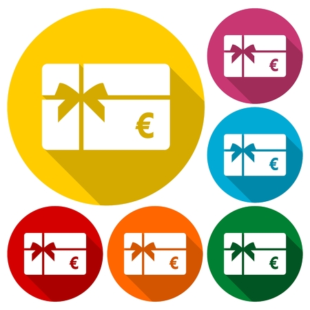 rebate: Shopping gift card icon, Gift card Icons set with long shadow