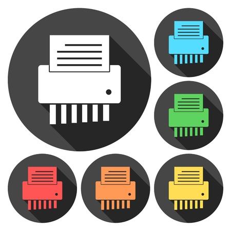shredder machine: Shredder shredding a document icons set with long shadow