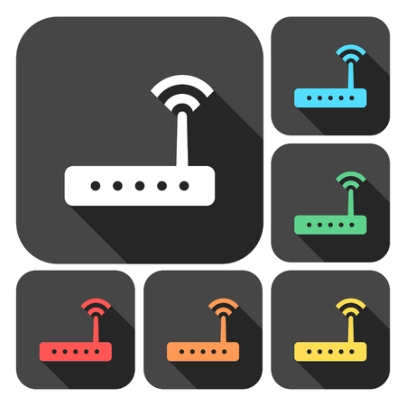 hub computer: Router icon vector, router icons set with long shadow Illustration