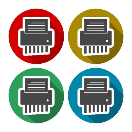 demolishing: Shredder shredding a document icons set with long shadow