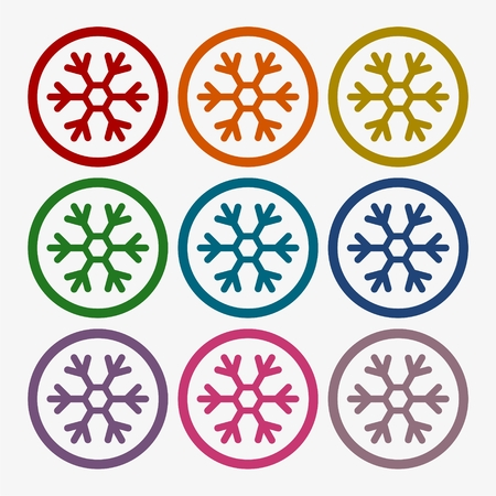 lightweight ornaments: Snowflake Icon in Flat Design Style, set Illustration