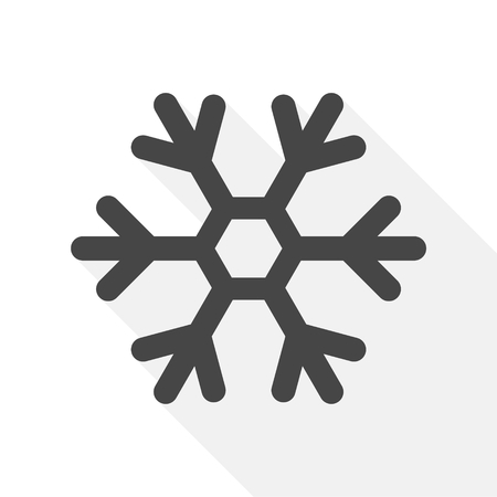 Snowflake Icon in Flat Design Style, with long shadow Illustration