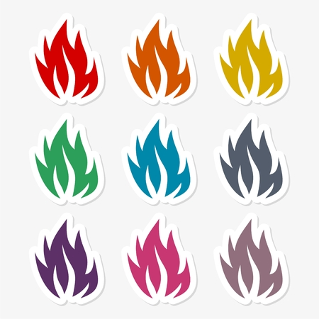Fire flames, sticker set Illustration
