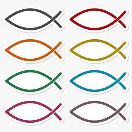 Fish Abstract sticker set
