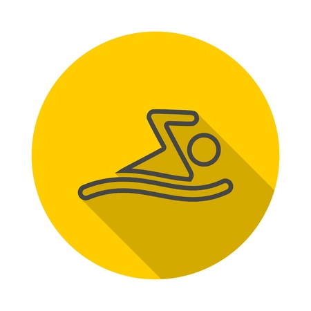 Summer Swim Water Information icon with long shadow Illustration