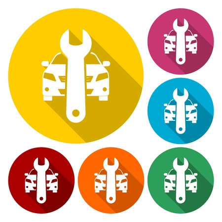Car service icons set with long shadow Illustration