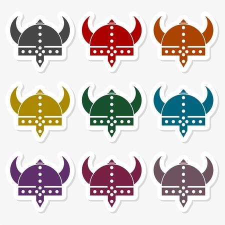 Viking helmet - vector sticker set