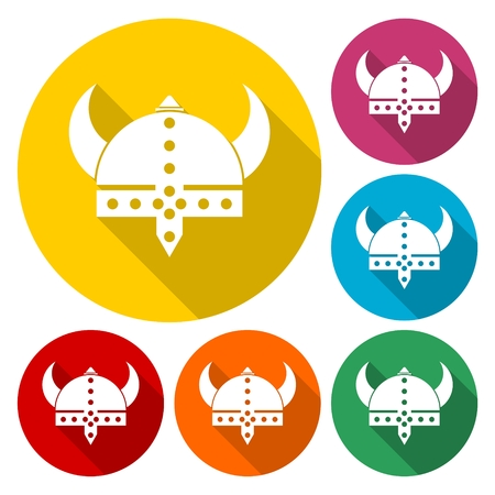 Viking helmet - vector icons set with long shadow