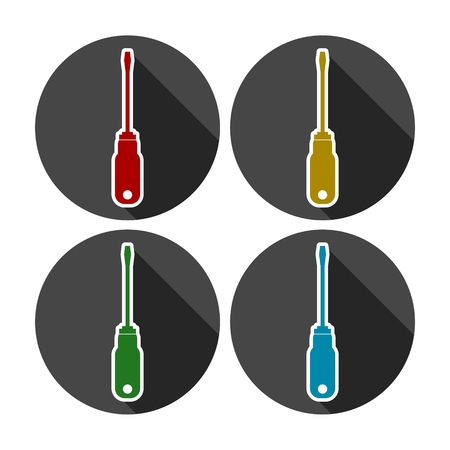 Screwdriver vector icons set with long shadow Illustration