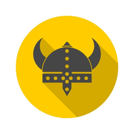 Viking helmet - vector icon with long shadow