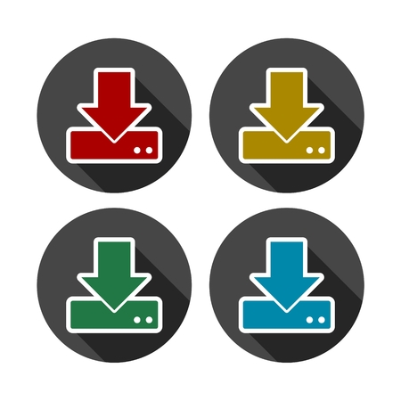 vector download: Vector download to hdd icons set with long shadow