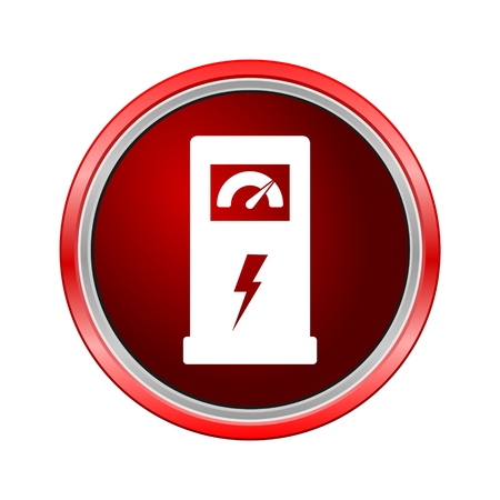 Charging station for electric car icon, Internet button on white background Illustration
