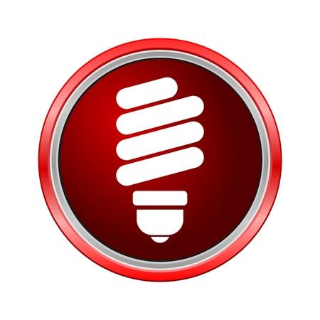 Energy saving bulb icon, Internet button on white background Illustration
