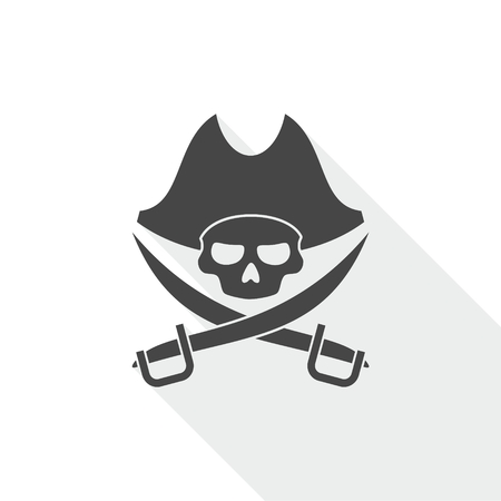 Pirate skull icon with long shadow