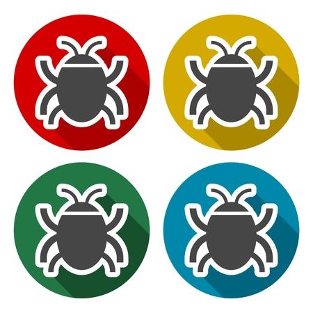 Software bug or program bug icons set with long shadow Иллюстрация