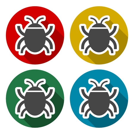 Software bug or program bug icons set with long shadow Illustration