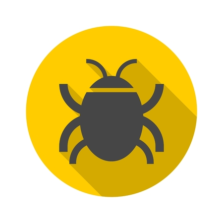 Software bug or program bug icon with long shadow